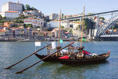 "Porto city, two ""Rebelo"" Boats in the river Douro — Stock Photo"