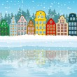 Stock Vector: multicolored christmas city