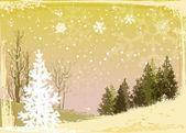 Winter forest grunge background — Stock Vector