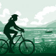 Cycling on seaside — Stock Vector #15346807