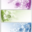 Set of horizontal backgrounds with flowers — Stok Vektör