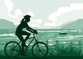 Cycling on seaside — Stock Vector