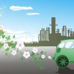 Illustration of environmentally friendly car — Stock Vector