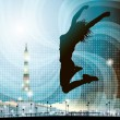 Royalty-Free Stock Vector Image: Silhouette of jumping girl in Paris