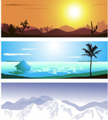 A series of illustrations of 3 geographical locations — Stock Vector