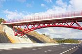 Bridge above the highway — Stock Photo