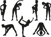 Silhouettes of a woman doing sport exercises — Cтоковый вектор