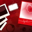 Royalty-Free Stock Vector Image: Blanks instant photo, card with heart, dark grunge background