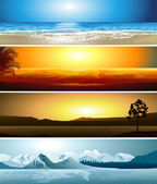 A series of illustrations of 4 geographical locations — Stock Vector