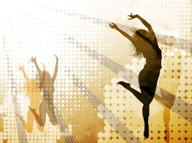 Background with jumping girl