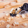 Small Block Plane and Wood with shavings — Stock Photo