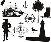 Set of Nautical Pirate pictures — Stock Vector