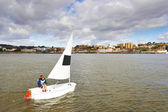 Participant boat on the child competition — Foto Stock