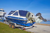 Boat ready to transport for repairs — Stock Photo