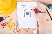 Dibujo de una casa de la mano — Foto de Stock