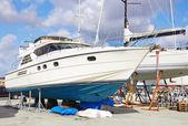 Boat repairs in a repair yard — Stock Photo