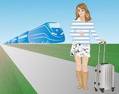 Passenger against a train — Stock Vector