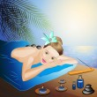 Spa massage on beach — Stock Vector