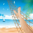 In the hammock on the beach — Stock Vector