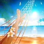 Lying in the hammock on the beach — Stock Vector #25467831