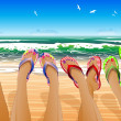 Female legs in colored flip flops — Stockvectorbeeld
