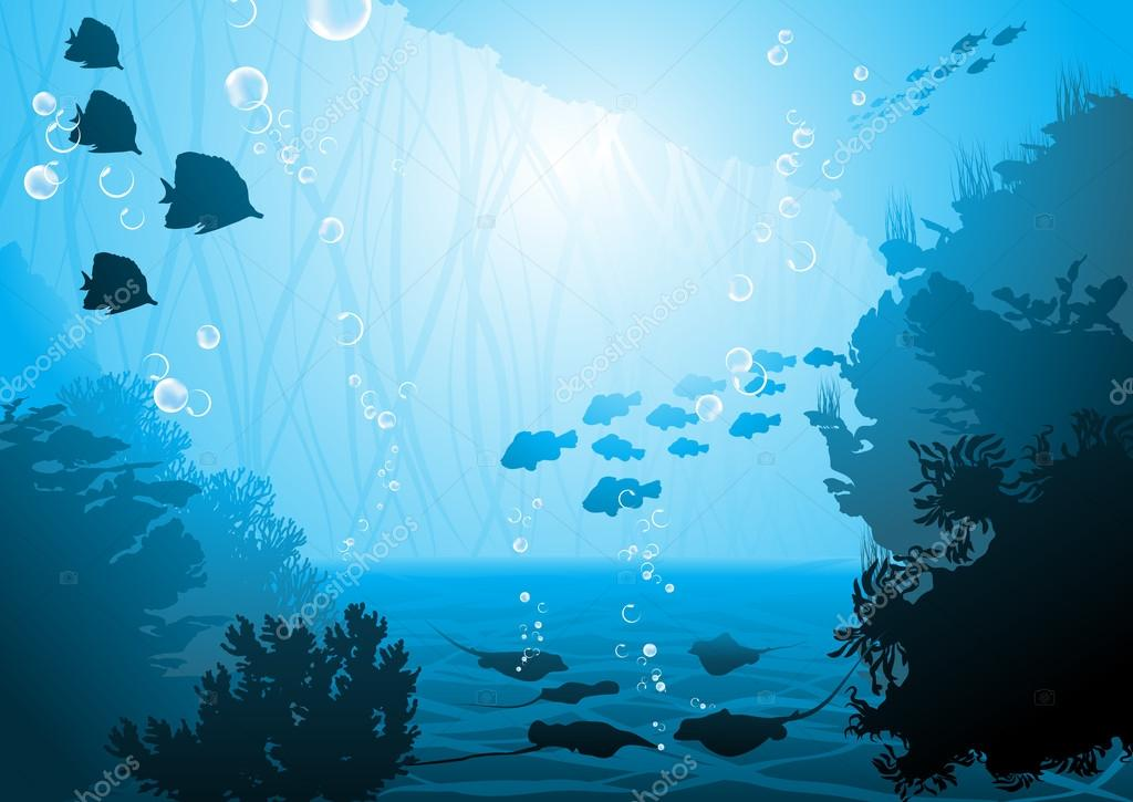 海底世界, 珊瑚礁和鱼类 — 矢量图片作者 portumen
