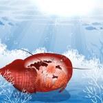 Red Crab underwater — Stock Vector #25767055