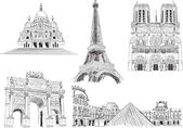 Attractions of Paris — Stock Vector