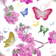 Seamless pattern with floral background with butterflies — Stock Vector