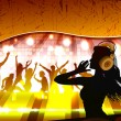 Stock Vector: Silhouette of a female dj in front of a crowd