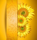 Abstract sunflowers background — Stock Vector