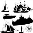 Set of vector boat silhouettes 	 — Stock Vector