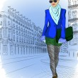 Fashion girl on the street of the old city — Stock Vector #35725885