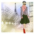 Elegant Fashion girl in sunglasses on the street in Paris  — Stock Vector
