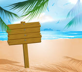 Wooden signboard on idealistic tropical beach — Vector de stock