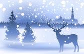 Winter landscape with deer — Stock Vector