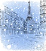 Vektorové ilustrace zasněžené vánoční paříž — Stock vektor