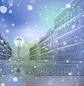 Winter Christmas cityscape — Stock Vector