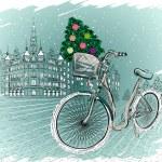 Christmas postcard with Christmas tree — Stock Vector
