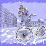 Christmas postcard with bicycle with a Christmas tree — Stock Vector