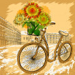 Postcard with bicycle and sunflowers — Stock Vector