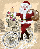 Happy Santa Claus with Christmas tree and gifts riding bike — ストックベクタ
