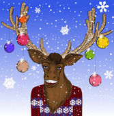 Christmas card with smiling deer — Stock Vector