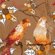 Seamless pattern with pair of budgies  — Vektorgrafik