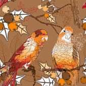 Seamless pattern with pair of budgies — Stock Vector