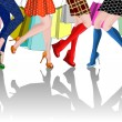 Legs of four girls with Shopping Bags — Imagen vectorial