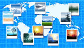 World map with photos of different geographic locations — Stock Vector