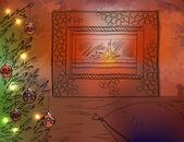 クリスマス暖炉とクリスマス ツリー — ストックベクタ
