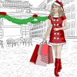 Santa girl with christmas purchases on city background — Stock Photo #37082969