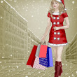 Santa girl with christmas shopping packages on city background — Stock Photo #37082973